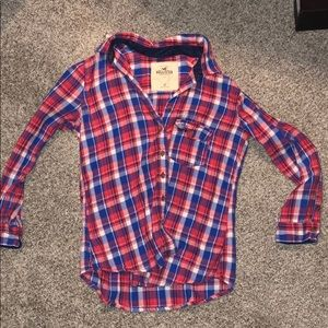 Red, white, and blue Hollister button up